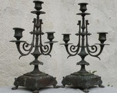 Beautiful antique French candelabras candlestick holders in a shabby chic gothic condition, french candle holders gothic candle holders
