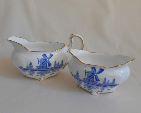 Delft Blue And White Windmill Small Cream and Sugar Royal Stafford Gold Trim Bone China