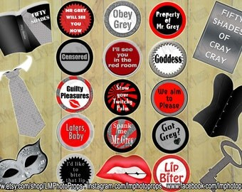 Fifty Shades of Grey Inspired PhotoBooth Props, Grey Party, Mr Grey PhotoBooth, Fifty Shades Party Props, INSTANT DOWNLOAD DIY Printable