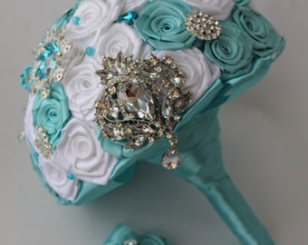 Brooch bouquet turquoise Blue bridal bouquet Wedding bouquet Turquoise Crystal Brooch Bouquet Elegant Wedding Jewelry Bouquet Something blue