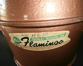 Vintage camping Poloron Flamingo cooler 1 gallon copper color