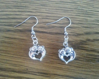 Heart shaped Piggy Pig Earrings with stainless steel french hooks