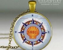Shell Oil Company Compass Globe World vintage Kette MAp necklace pendant map city vintage