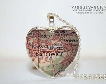katowice United States necklace heart pendant map city vintage