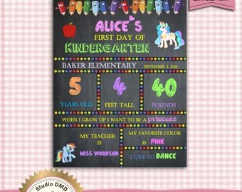 First Day of School Sign, Girl, Back to School, Kindergarten, Pre-School - My Little Pony - DOWNLOAD Instantly - EDITABLE TEXT in Word