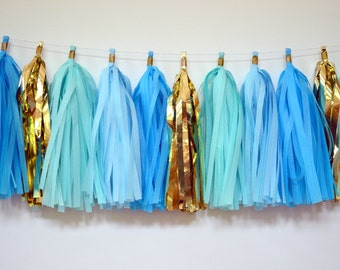 Baby Shower Tassel Garland - tissue tassel garland - baby boy shower decoration - gender reveal decor - balloon tassel garland - photobooth