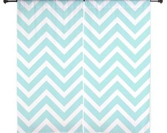 Chiffon Curtains - Chevron Curtains - Sheer Curtains - Chevron - Blue - Girls Bedroom Curtains - Girls Curtains - Teen Curtains