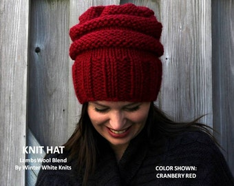 Knit beanie hat, slouchy knit hat, red knit hat, chunky knit toque hat, chunky knit slouch beanie, winter hat