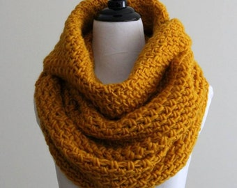 Knit cowl, soft wool cowl, tube scarf, mustard yellow knitted cowl, 100% soft new wool, handknit snood, hood cowl, soft and cozy