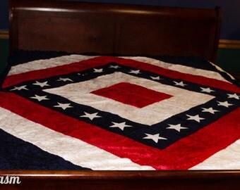 "Crushed Velvet American Flag Quilt * Picnic Blanket *Full 57""x76"" Military Comforter Red White and Blue Quilt Free Ship Inside U.S."