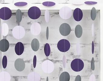 Lavender Paper Garland - Purple Baby Shower - Lavender Wedding Decor - Purple Circle Garland