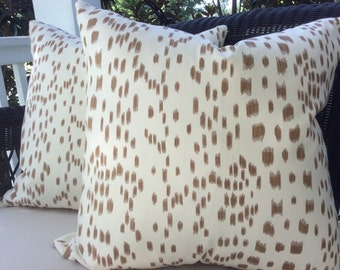 Brunschwig and Fils Pillow Cover in Brown and Cream Les Touches Design, White Linen Backing