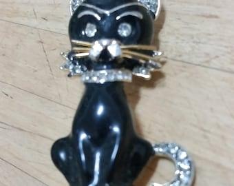 Vintage 1950's 1960's  Brooch Black Enamel Gold Tone Black Cat
