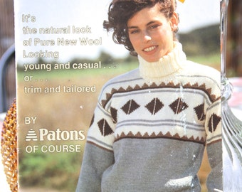 Vintage Knitting pattern -Paton's  8 ply Totem