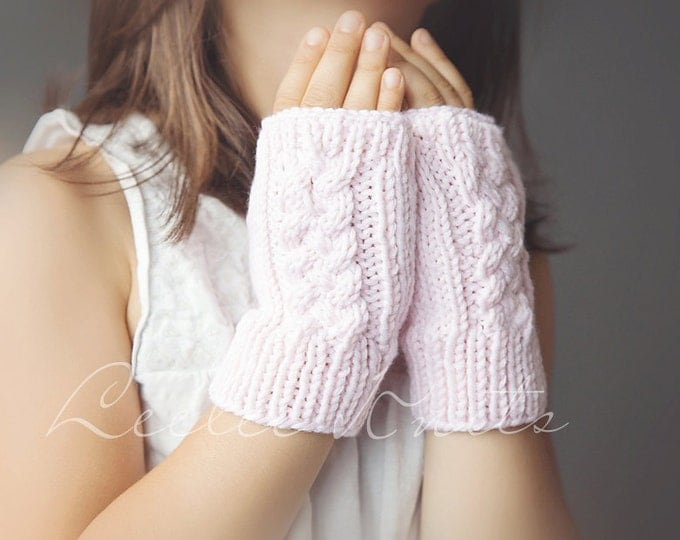Pattern - Cable Knit Fingerless Gloves Knitting Pattern