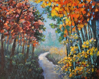 original acrylic landscape fall painting on canvas