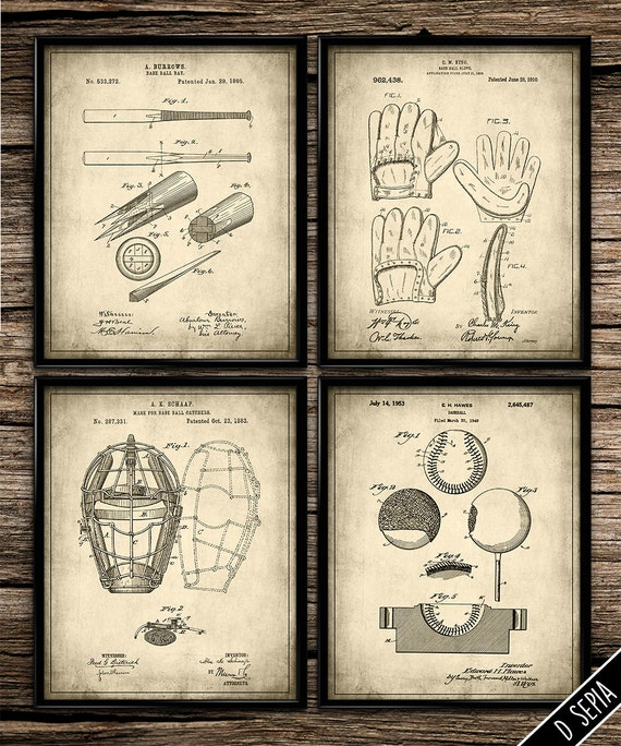 Vintage Baseball Wall Decor : Vintage patent baseball set art by