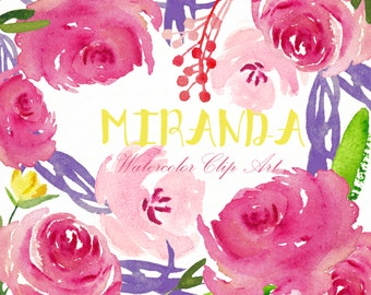 Watercolor Clipart digital Hand Drawn. Miranda composition. Romantic wedding clipart, tender and bright pink floral clip art.