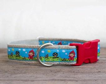 Blue hemp dog collar, Little Red Ridding Hood dog collar