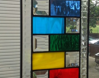 Rainbow Colors and Crystal Bevels Meditation/Chakra Stained Glass Panel