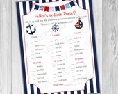 Nautical Anchor Baby shower games what's in your purse game Printable INSTANT DOWNLOAD  UPrint  by greenmelonstudios nautical baby shower