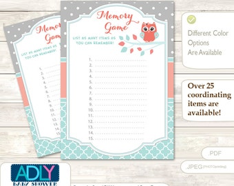 Coral Owl Memory Game For Baby Shower Printable Card For Baby Owl Shower  DIY Aqua Grey