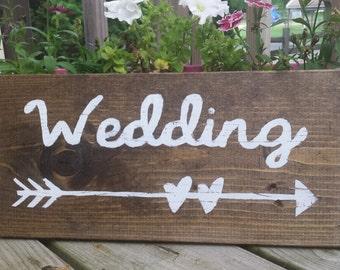 "Wedding Sign, Rustic Wedding Wooden Sign, Wedding with Arrow Sign, Wedding Decor, Rustic Wedding Decor 14.5"" x 7"""