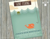 Gone Fishing Birthday Party Invitation by The Merry Love Joy