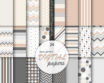 Beige and gray digital paper elegant pattern polka dot dots chevron candy stripes solid background tan white grey ivory wedding scrapbooking