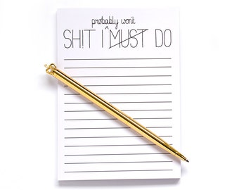 Notepad, To do list, funny to do list notepads jotter organiser funny gift stationery Things i must do presents christmas stocking stuffer