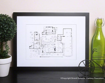 Two and Half Men House Poster - TV Show Floor Plan  - Blackline - Home of Charlie, Jake and Alan Harper - Gift for him - Architecture Art
