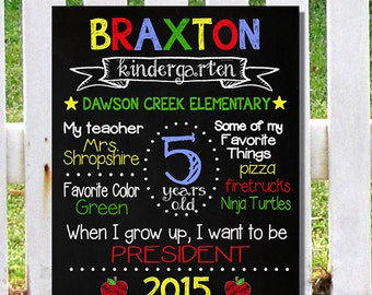 GET it TODAY First Day of School or Kindergarten Preschool Sign Primary Colors Personalized & Custom Chalkboard Digital File Get if Fast!