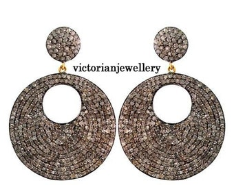 Victorian Look 10.55ct Rose Cut Diamond .925 Silver Earring / Dangler with a hole