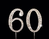 60th Birthday Cake Topper - 60th Anniversary Cake Topper - 1.75 Inches Tall - Cake Decoration