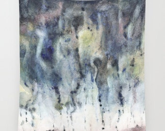 """Wall tapestry with fine art print. Abstract watercolor painting in deep indigo, grey, soft yellow. """"Weather Explorations"""""""