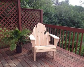 KIT Michigan Adirondack Chair - natural Handmade Wood Furniture Rustic patio Cedar Adirondack Chair Michigan State Glove unfinished