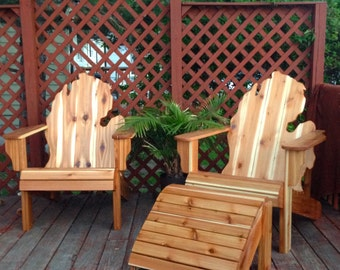 Chair and Ottoman Set Michigan Adirondack Handmade Cedar Wood Furniture Rustic patio State Glove finished - Local Pickup Only