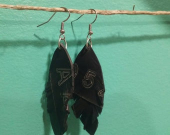 Feather earrings - reclaimed inner bike tubes - vegan