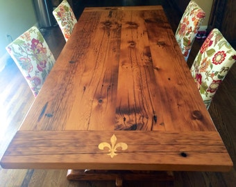 Reclaimed Barnwood Table - Handmade Inlay Custom Furniture - Fleur-de-lis - Dining Breadboard - White Ash and Maple