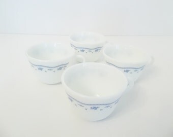 Four Pyrex Cups in the dainty Morning Blue Pattern