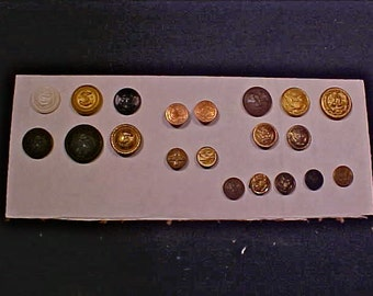 20 Military buttons - 18 different individual buttons + 1 pair