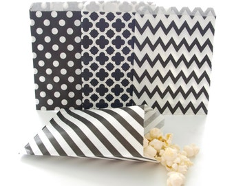Black Paper Party Bags (100 Pack) - Stripe, Chevron, Spanish Tile, Polka Dot - Bulk Party Supplies, Candy Buffet Wedding Favor Bags