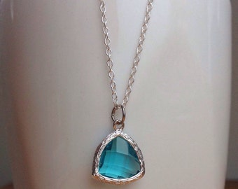 Silver and aqua / light turquoise necklace