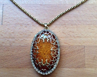 Large vintage-style antique gold filigree amber stone necklace