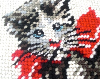 Antique Hand Embroidered Kitten Tapestry
