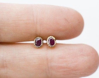 Oval ruby stud earrings, ruby earrings in 14k gold, gold  gemstone studs, birthday gift, gift for her