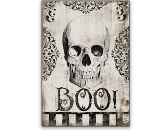 Halloween wooden sign Boo signs Skeleton signs Halloween wall decor Halloween decoration Skeleton wall decor Halloween party decor scull art