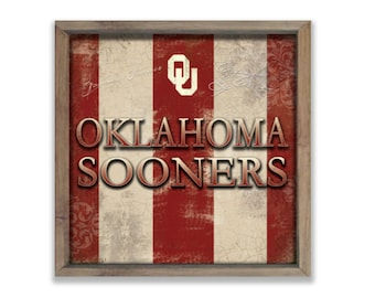 "Oklahoma Sooners sign OU signs OU decor OU plaques Boomer Sooner decor Athletic signs 13.25""x13.25""x2"" Ou Football Collegiate signs"