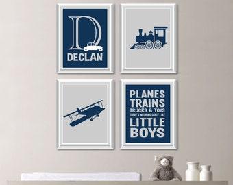 Baby Boy Nursery Decor. Baby Boy Nursery Art. Boy Bedroom Art. Airplane Nursery Art. Train Nursery Art. Transportation Wall Art (NS-759)