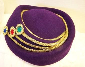 Vintage Ladies Stewardess Pillbox Hat Purple and Gold Felt